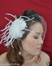 Bandeau 800 VEIL SET w/ Feather Fascinator Hair Clip & Ivory White Birdcage Veil