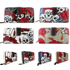 SKULL ROSE DAY OF THE DEAD OILCLOTH WALLET PURSE CLUTCH BAG TATTOO BIKER GOTH