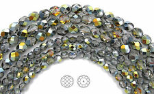 """Czech Fire Polished Round Faceted Beads in Crystal Marea coated, 16"""" strand"""