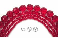 "Czech Fire Polished Round Faceted Glass Beads in Light Siam color,16""strand, red"