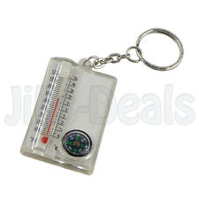 OUTDOOR CAMPING HIKING COMPASS THERMOMETER TEMPERATURE KEYRING KEYCHAIN OUTDOOR