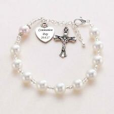 White Pearl Rosary Bracelet with Engraved Heart Charm, Holy Communion Jewellery