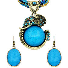 Handmade Elephant Jewelry Sets Necklace Earrings Fashion Antique Bronze Plated