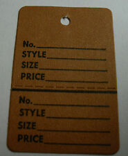 Brown 2 part Merchandise Garment Retail Sale Price Tags Small With String