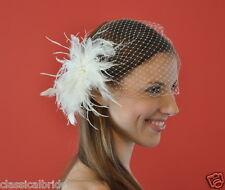 Bandeau 801 VEIL SET w/ Feather Pearl Fascinator & Ivory White Birdcage Blusher