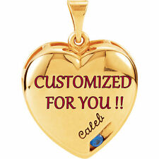 MOTHERS JEWELRY 14K 10K Gold Heart Necklace CUSTOM ENGRAVED 1-4 Birthstones