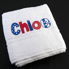 PERSONALISED APPLIQUED NAME BATH TOWEL BABY GIRL BOY ADULT NEW GIFT ANY NAME