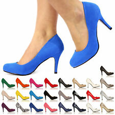LADIES COURT SHOES WOMENS OFFICE SMART BLACK PARTY EVENING HIGH HEELS SHOES SIZE