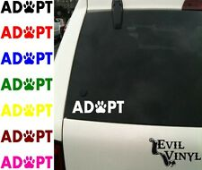 ADOPT Vinyl Car Window Decal Pet Dog Cat Paw Animal Rescue Shelter Love ANY SIZE