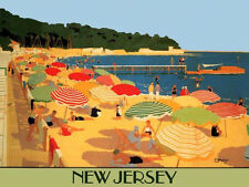 New Jersey Beach Umbrellas Travel Tourism Vacation Vintage Poster Repro FREE S/H