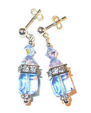 LIGHT SAPPHIRE BLUE Crystal Earrings 8mm Cube Sterling Silver Swarovski Elements