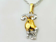 Solid zodiac two tone 20 in chain 925 sterling silver/18k gold plated necklace