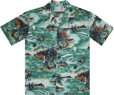 500-2010 Green Hawaiian Aloha Shirt Tropical Island Beach Ocean Diamond Head