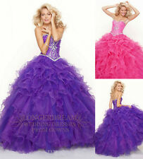 Luxury Shining Organza Layered Quinceanera Evening Prom Ball Gown/Sz6 8 10 12 14