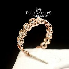 18CT Rose Gold Plated Fashion Sparkling Hearts Ring Made With SWAROVSKI Crystals