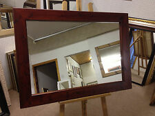"""4"""" CHUNKY RED MAHOGANY STAINED SOLID PINE WALL AND OVERMANTLE MIRRORS - VARI"""