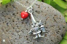 Gnome necklace- silver charm & red heart, sterling silver chain -cute, woodland