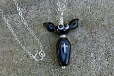 Halloween Bat and Coffin Necklace - black lampwork glass - sterling silver chain