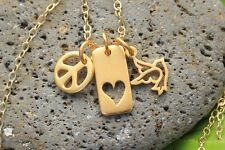 Peace Love and Joy gold charm cluster necklace -peace sign, heart, and dove bird