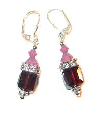 CYCLAMEN & BURGUNDY Crystal Earrings 8mm Cube Sterling Silver Swarovski Elements