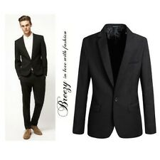Fashion Black Slim Fit Men Young Skinny Couture One Button Suit Jacket Shirt New