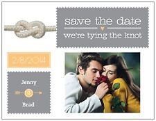 Personalized  WEDDING Tie the KNOT Save the DATE Post or Flat CARDS 3 Colors