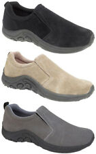 Mens New Black / Taupe Leather Suede Slip On Comfort Leisure Shoes  6 - 14