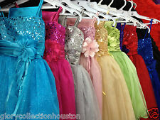 NEW Girls Sequin Bodice Double Spaghetti Straps with Glitter Tulle skirt DRESS