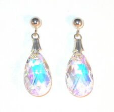 CLEAR AB Crystal Earrings Sterling Silver 16mm Pear Dangle Swarovski Elements