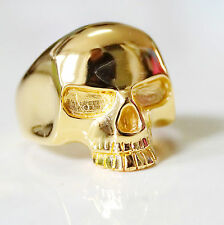GENUINE BRASS 18K YELLOW GOLD PLATED KEITH SKULL RING - NEW DESIGN