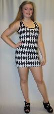 NEW BLACK & WHITE HARLEQUIN DIAMOND PRINT LONG VEST TANK TOP DRESS GOTH EMO PUNK