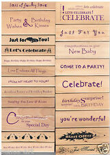Wood rubber stamp Birthday Married Celebrate Love For you Party Best wishes baby