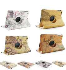 World Map Pattern 360 Degree Rotating Stand PU Leather Case Cover for iPad 2 3 4