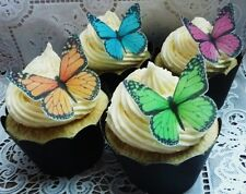 edible pink orange blue green wafer butterfly cupcake cake toppers 18th 21st