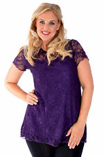 New Womens Lace Lined Tunic Top Short Sleeve T-shirt Nouvelle Plus Size
