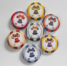"Cheerleader Team Colors Flatback - Pin Back Buttons 1"" for Bows Embellishments"