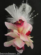 Bridal Bridesmaid Prom PINK Orchid Silk Flowers Feather Fascinator Hair Comb