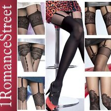 Fiore Fashion Faux Garter Stockings Mock Suspender Pantyhose Tights size S M L