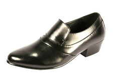 "D'Italo Cuban Heel in Black. Slip On Dress Shoe 1.5"" Heel Style #5634"