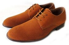 NEW MENS PERFORATED LACE UP OXFORDS FAUX SUEDE LEATHER LINED DRESS SHOES/ BROWN