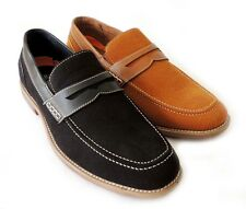 NEW MENS PENNY LOAFER SLIP ON FAUX SUEDE LEATHER  DRESS SHOE COMFORT / 2 COLORS
