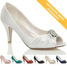 WOMENS LADIES WEDDING EVENING LOW KITTEN HEEL PEEPTOE SHOES SANDALS SIZE