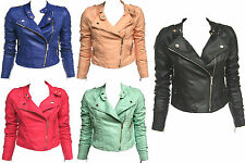 womens/ladies fitted biker jacket in leather look sizes 8.10.12.14.