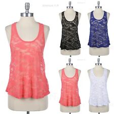 Crochet Lace Long Racerback A Line Tank Top Scoop Neck Sleeveless Casual Comfy