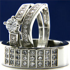 HIS & HERS 3pcs Men's Band & Women's Engagement And Wedding Ring Sets New
