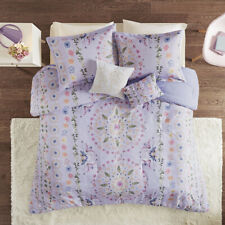 BEAUTIFUL ELEGANT LUXURY MODERN WHITE PURPLE RUFFLE RUCHED TEXTURE COMFORTER SET