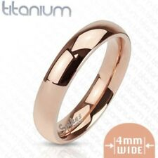 Personalized Solid Titanium Rose Gold IP 4mm Classic Band Ring - Free Engraving