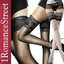 Sheer Sexy Stay Up Thigh High Stockings Lace Top Fiore Obsession size S M L