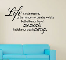 LIFE IS NOT MEASURED BY Vinyl wall lettering sayings Letters Wall decals art