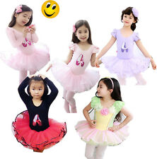 Girl Ballet Dress Kids Tutu Party 3-8Y Costume Dancing Leotard Long/Short Sleeve